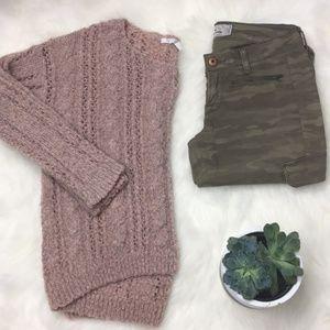 Metallic Blush Boucle Cable knit sweater